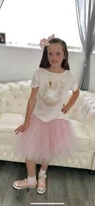 Monnalisa Swan Set Feathers Age 12 Skirt Tutu Summer