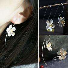 Flower Long Tassel Earrings For Women Thai Process Elegant Lady silver jewelry