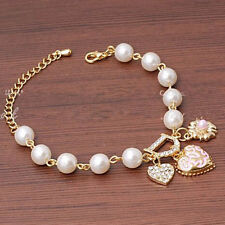 18K Gold Plated Pearl Charm Crystal  Chain Bracelet and or Anklets 9 in. Length.