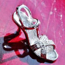 10k white gold pendant charm 0.05ct diamond high heel shoe vintage handmade 1.5g