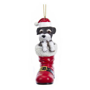 Schnauzer in Santa Boot Ornament
