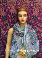 Fabric Women Cotton Long Sarong Dupata Stole Scarf Gift Indian Hand Block Print