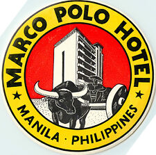 Marco Polo Hotel ~MANILA PHILIPPINES~ Huge & Scarce Old Luggage Label