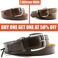 Men's Brown Genuine Leather Metal Buckle Causal Jean Dress Belt Size M L XL