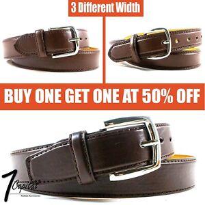 Men's Brown Genuine Leather Metal Buckle Causal Jean Dress Belt Size M L XL