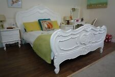 Handmade French Charroux Shabby Chic Double Bed in White