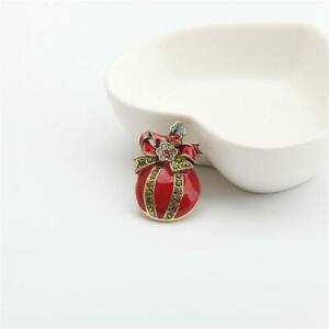 Heidi Daus Pave Ornament Crystal & Enamel Pin Brooch Red