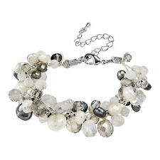 Amazing Cluster of Black Pearls Milky Quartz and Crystal Bead Statement Bracelet