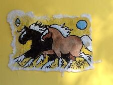 Rock Art Clydesdale/Draft Ponies Original Watercolor Pat Wiles Horse Horses