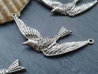 Antique Silver Swallow Bird Charms D2 5pcs Steampunk Vintage Pendants Kitsch