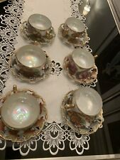 Royal Sealy Japan Fruit, Three Footed Iridescent  12 Pc. Tea  Cup + Saucer Sets
