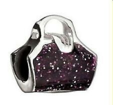 Authentic Chamilia Element Charm 925 Silber 'Glitter Purse Purple' Bead  NA-20