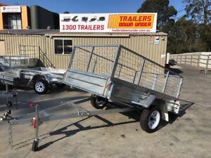 8x5 GALVANIZED CAGE TRAILER SALE BRISBANE QLD   600mm CAGE   MANUAL TILT