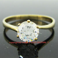 Genuine Solid 9k Yellow Gold Engagement Wedding Solitaire Ring Simulated Diamond