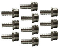 """8mm Push On Hose Tail Fittings with 3/8"""" BSP Thread Water Fuel Gas Oil (10 Pack)"""