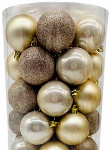 Set of 35 Gold Matte Glitter Shiny Christmas Tree Bauble Xmas Decorations