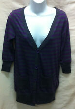 Petite Button Striped 3/4 Sleeve Women's Jumpers & Cardigans
