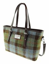 Ladies Authentic Harris Tweed Tote Bag With Shoulder Strap Gunn Tartan COL 15