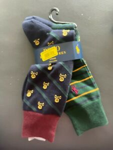Men's Polo Ralph Lauren Skull Crossbones & Stripe  /DOT Dress Socks 2 Pair Pk 🎈