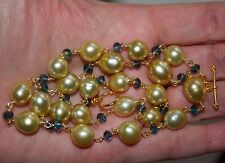 Necklace SOUTH SEA GOLDEN PEARLS and TOPAZ on 24K Gold Vermeil over 925 Sterling