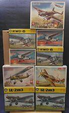 Lot of nine aircraft, ZTS 1/72 IL-2M3, LWS, PZL-37 Los, YAK-1m, RWD-5 Bis, RWD-6