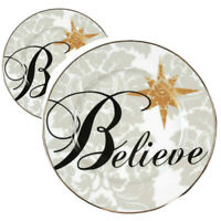 """TWO Spirit of the Season BELIEVE 10.5 """"Dinner Plates by St Nicholas Square"""