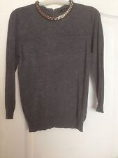 Grey Zara Embellished Roll Neck Jumper - Size Small
