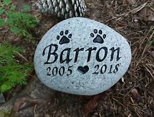 Pet Memorial engraved Dog or Cat personalized sandcarved river stone