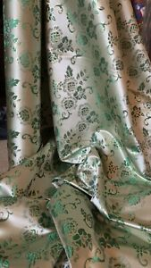 """1 METER GREEN /GOLD SHINY FLORAL METALLIC BROCADE FABRIC 44"""" WIDE"""