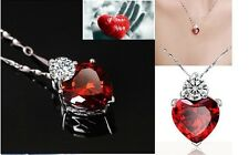 Red Heart Crystal Love make swarovski elements Necklace Pendant+ free gift pouch