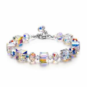 Aurora Borealis Square Crystals Bracelet Bangle Wristband Wedding Jewelry Gifts