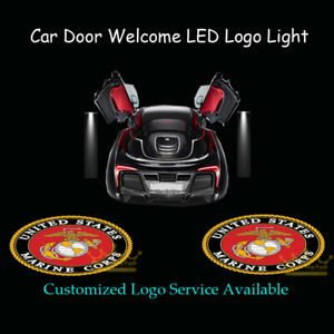 2Pcs United States Marine Corps USMC Logo Car Door Welcome LED Projector Lights