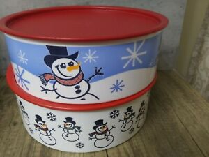 2-TUPPERWARE Cookie/Treats Canister ~ Winter Theme/Snowman with Red Seal #3421