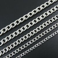 """18""""-30"""" Wholesale Lots Men Silver Stainless Steel Figaro Chain Necklace In Bulk"""
