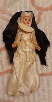 Vintage Catholic Nun Sister Plastic Body Doll Crucifix Creepy Eyes White Dress