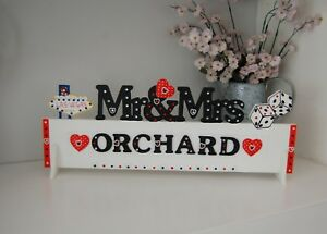 PERSONALISED Las Vegas Wedding Table Decoration Mr & Mrs Sign Pretty ANY SURNAME