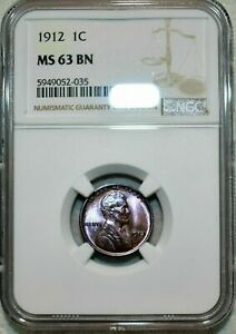 1912-P LINCOLN CENT NGC MS63 BN BEAUTIFUL PURPLE TONE