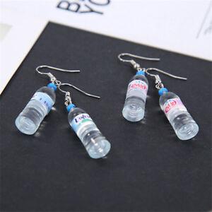 Women Water Bottle Drink Kitsch Drop Dangle Hook Earrings Jewelry Gift
