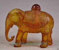 Old Wonderful Handwork Amber Carving Elephant Statue Ornament Bottle b01