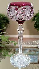 Vintage VAL ST LAMBERT Amethyst Purple to Clear Crystal Wine Goblet Saarbrucken