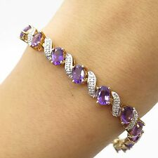 925 Sterling Silver Real Diamond Accent Amethyst Gemstone Link Bracelet 7""