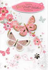 Isabels Garden, rimettiti presto Card, Tema Farfalle, 3d, fatto a mano, qualità superiore, m5