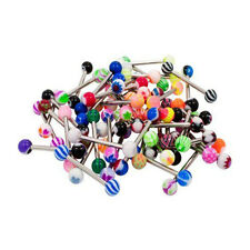 Mixed Acrylic 316l Tongue Nipple Bar Ring Barbell Body Piercing Jewelry LR 50pcs
