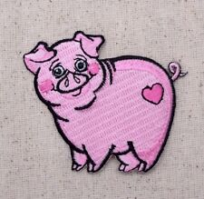 Pink Pig/Piglet Smiling/Heart Farm Animal - Iron on Applique/Embroidered Patch
