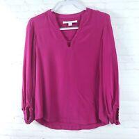 Diane Von Furstenberg Women's Size 6 Pink V-Neck Balloon Sleeve Blouse Top
