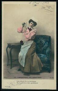 298 Flirt Romance Couple Lady Domestic Maid Butler 1900s postcard lot SET of 6