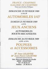 CATALOGUE DE VENTES DE CHARTRES.POUPEES, AUTOS, JEUX ANCIENS 19/25/26/89. R4890