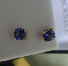 Superb Tanzanite 5mm Stud Earrings  9ct Yellow Gold. New in box.