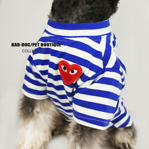 Fashion Pet Puppy Dog Pet Blue Vest Striped T Shirt Apparel Clothes