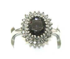 Oval Purple Spinel & Diamond Halo Solitaire Ring 14k White Gold 2.59Ct